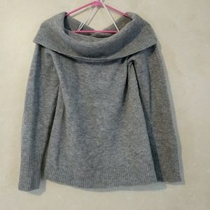 Theory Off Shoulder Gray Melange Sabine Sweater